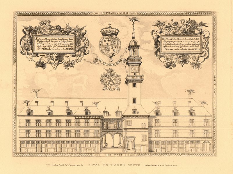 Associate Product CITY OF LONDON. Gresham's first Royal Exchange. South view. WILKINSON 1834