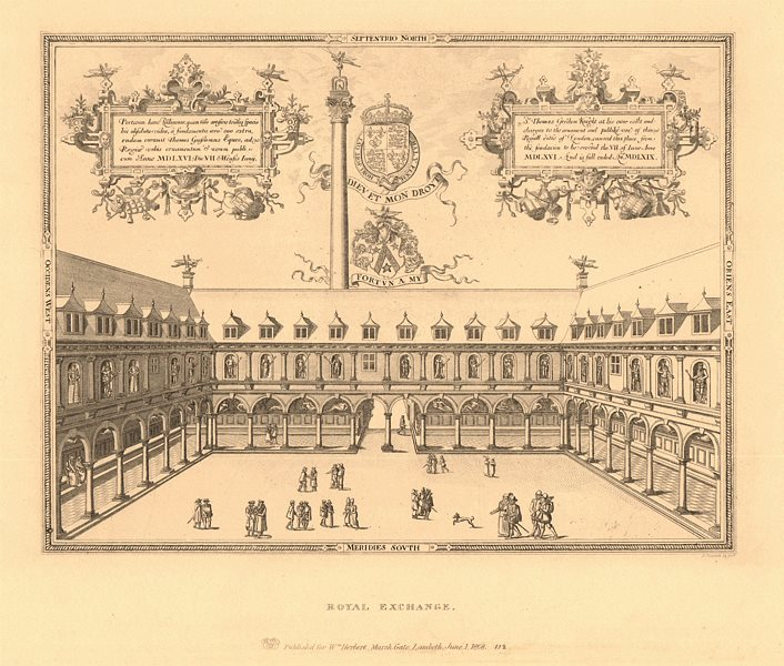 Associate Product CITY OF LONDON. Gresham's first Royal Exchange. Interior court. WILKINSON 1834