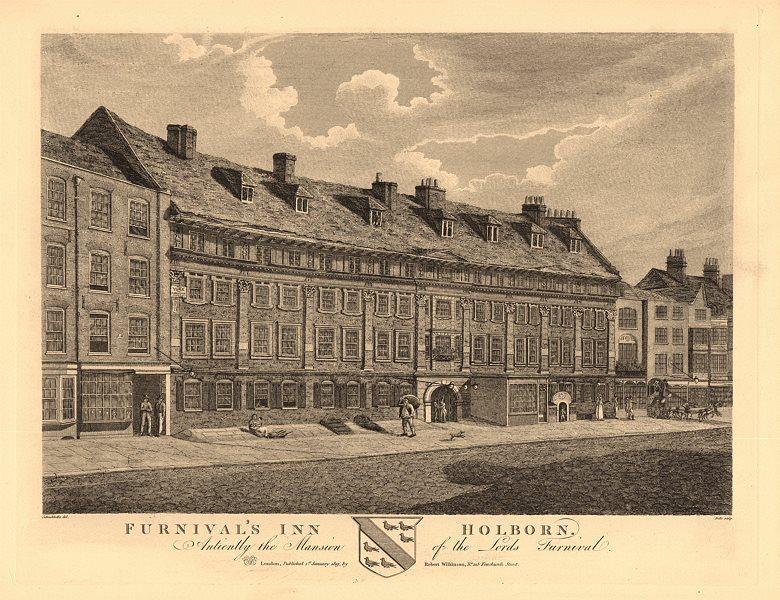 Associate Product FURNIVALS INN. Lords Furnival Mansion. Inn of Chancery. Holborn, London 1834