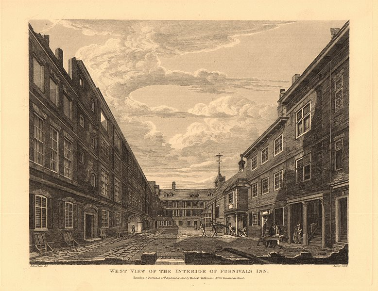 Associate Product FURNIVALS INN. West view of the interior. Holborn, London. Inn of Chancery 1834