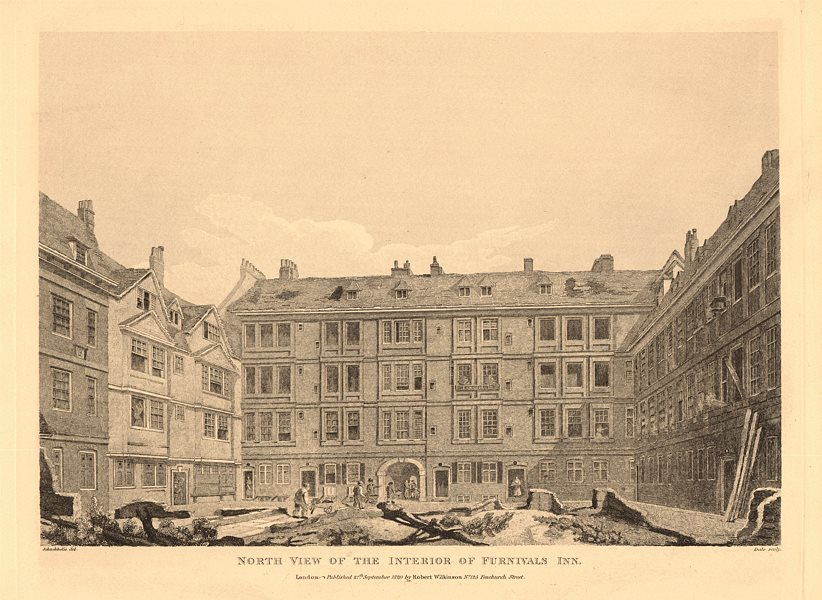 Associate Product FURNIVALS INN. North view of the interior. Holborn, London. Inn of Chancery 1834