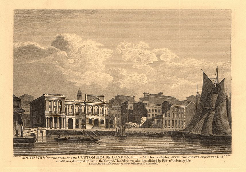 Associate Product LONDON. Ruins of the CUSTOM HOUSE. Demolished 1814. WILKINSON 1834 old print