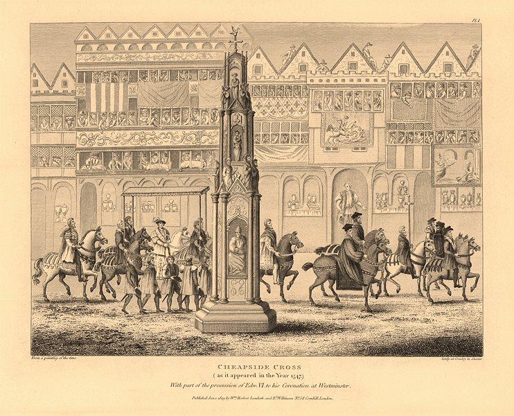 Associate Product CHEAPSIDE CROSS in 1547. Coronation procession of King Edward VI. London 1834