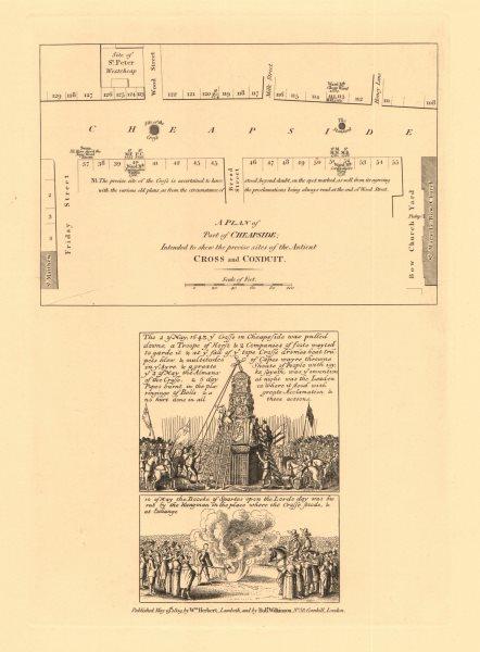 Associate Product CHEAPSIDE. Friday Bread Wood & Milk Streets. Honey Lane. Bow Church 1834 map