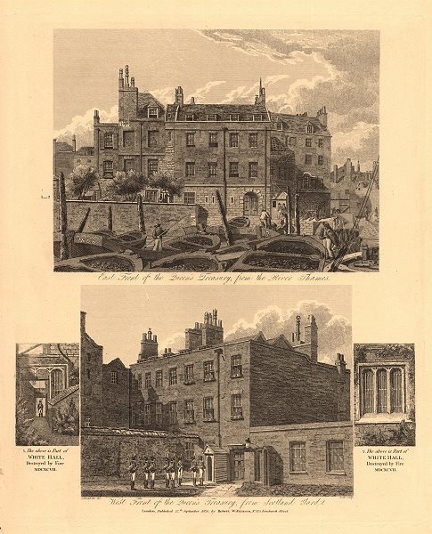Associate Product THE QUEEN'S TREASURY. East & West fronts. Scotland Yard. London. WILKINSON 1834