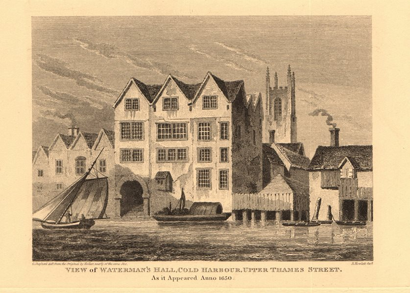 Associate Product WATERMAN'S HALL, Coldharbour, Upper Thames Street in 1650. City of London 1834