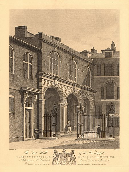 Associate Product SALTERS HALL. Worshipful Company of Salters. St Swithin's Lane, Cannon St 1834