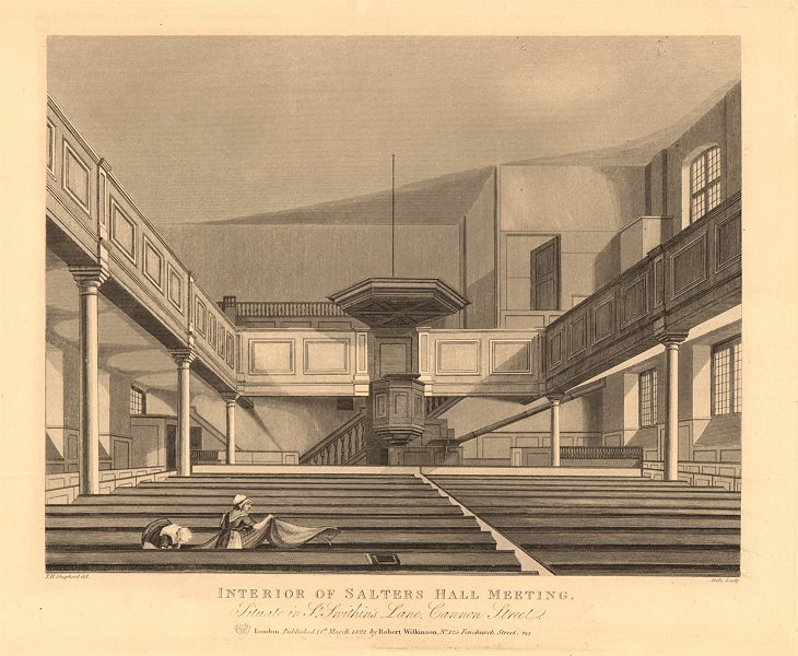Associate Product SALTERS HALL. Interior. St Swithin's lane, Cannon Street. City of London 1834