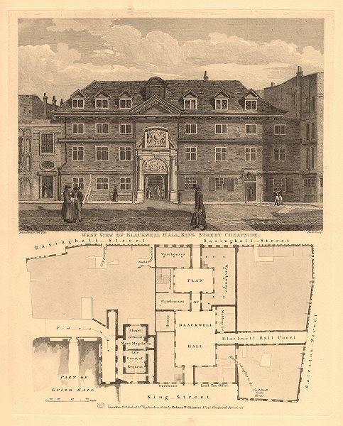 Associate Product BLACKWELL HALL. Basinghall/Cateaton/King Streets, Cheapside. London 1834 map