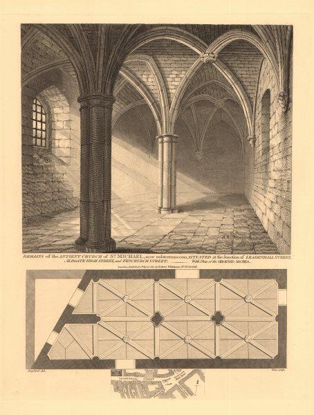 Associate Product ST MICHAEL'S CHURCH, Leadenhall/Fenchurch/Aldgate High Street junction 1834 map