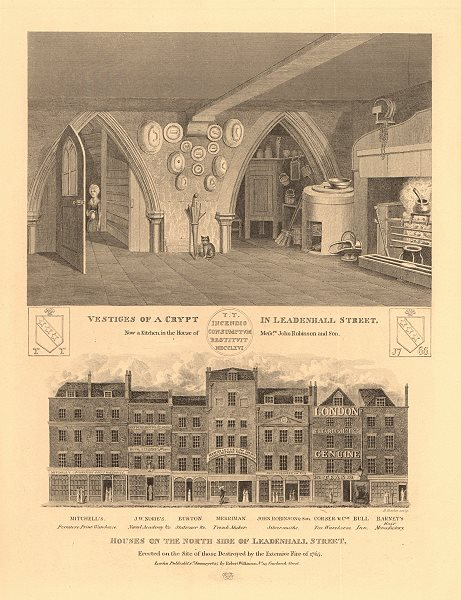 Associate Product LEADENHALL STREET. Houses on the north side built after 1765 fire. Crypt 1834