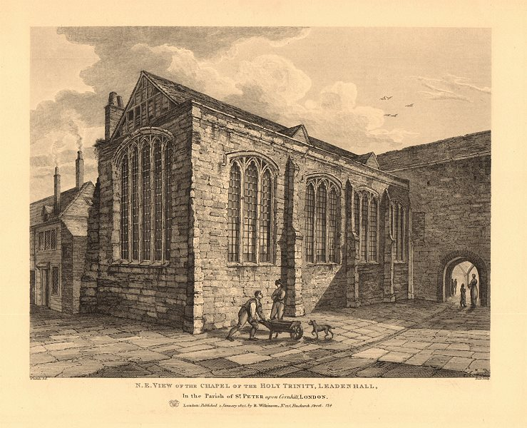 Associate Product HOLY TRINITY CHAPEL, LEADENHALL. North East view. City of London 1834 print