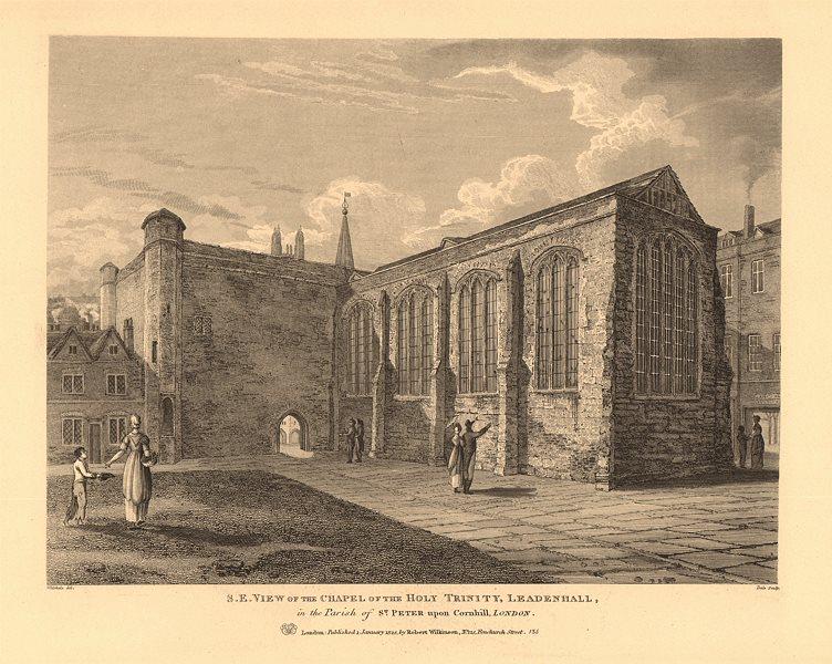 Associate Product HOLY TRINITY CHAPEL, LEADENHALL. South East view. City of London 1834 print