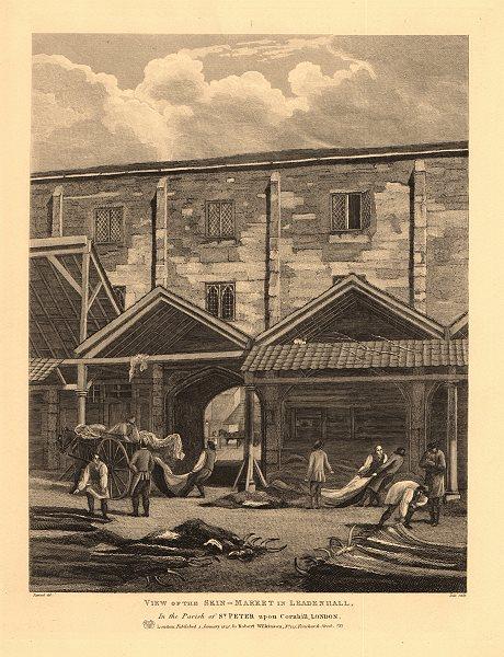 LEADENHALL. Animal skin & leather market. City of London. WILKINSON 1834 print