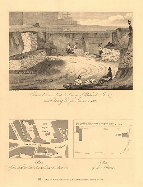Associate Product TRAFALGAR SQUARE/ROYAL MEWS. Whitcomb Street ruins. Cockspur St 1834 old map