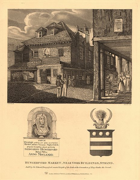 Associate Product HUNGERFORD MARKET, Strand (site of Charing Cross Station). London 1834 print