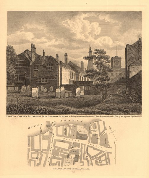 Associate Product BOROUGH. Queen Elizabeth's Free Grammar School, Tooley Street. London 1834 map
