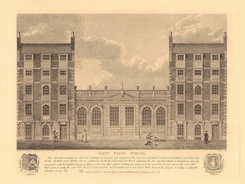 Associate Product SAINT PAULS SCHOOL, on its earlier Cheapside site. John Colet. London 1834