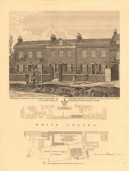 Associate Product WHITECHAPEL ROAD. Whitechapel Society School Workhouse Almshouses 1834 old map