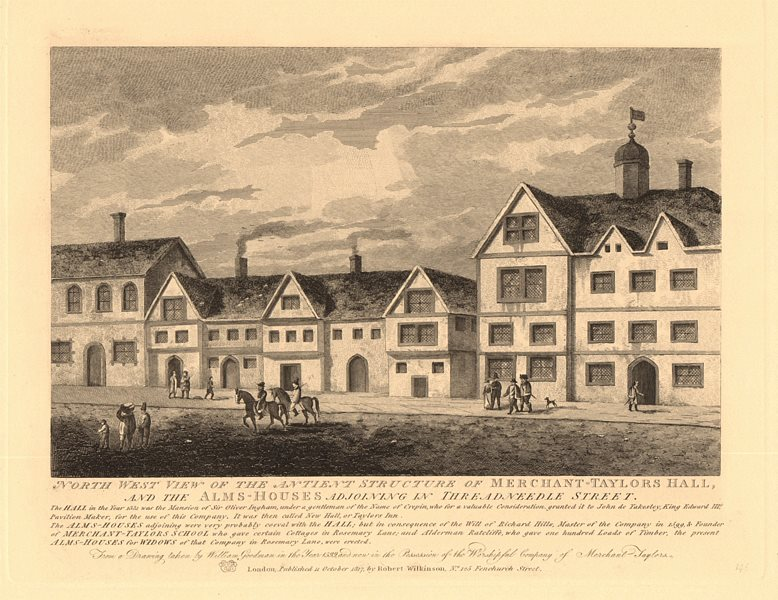 Associate Product MERCHANT TAYLORS HALL & Almshouses, Threadneedle Street, City of London 1834