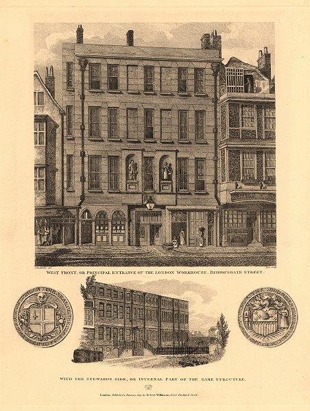 Associate Product BISHOPSGATE. City of London Workhouse, west side of Bishopsgate. WILKINSON 1834