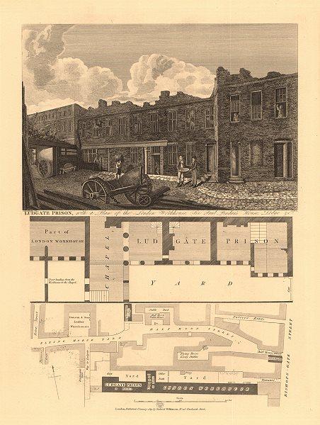 Associate Product BISHOPSGATE. LUDGATE PRISON. London Workhouse. Sir Paul Pindar's House 1834 map