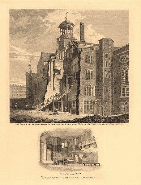 Associate Product BRIDWELL HOSPITAL, BLACKFRIARS. Site of Bridewell Court. London. WILKINSON 1834