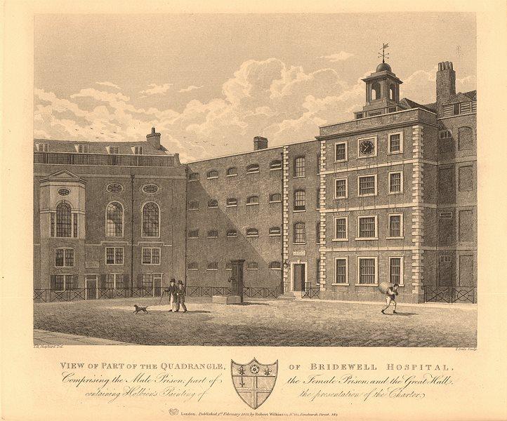 Associate Product BRIDWELL HOSPITAL/PRISON, BLACKFRIARS. Site of Bridewell Court. London 1834