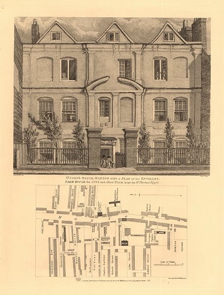 Associate Product MAP OF HOXTON STREET. St. John's House. Hoxton Square. London 1834 old