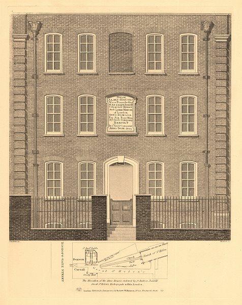 GREAT ST HELENS. Andrew Judd's Almshouses. Plan. Bishopsgate. London 1834 map