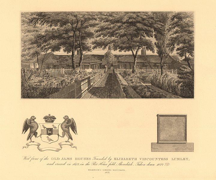 Associate Product SHOREDITCH almshouses. Visc Lumley. 'Pest House field' (Shepherdess Walk) 1834