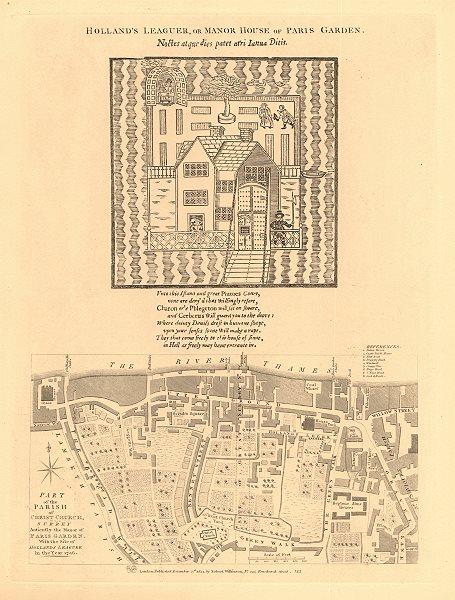 Associate Product CHRIST CHURCH PARISH, SOUTHWARK in 1746. South Bank/Bankside. London 1834 map