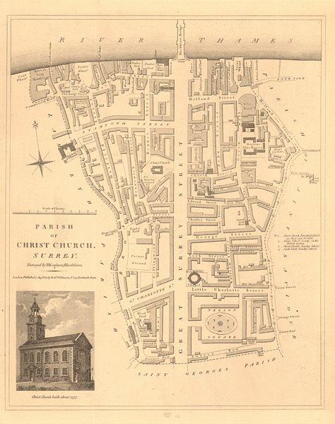 Associate Product CHRIST CHURCH PARISH, SOUTHWARK. South Bank/Bankside. London 1834 old map