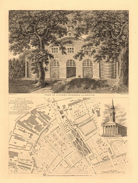 Associate Product SOUTH BANK/WATERLOO 1746 MAP. Cuper's Gardens view (now Waterloo Road) 1834