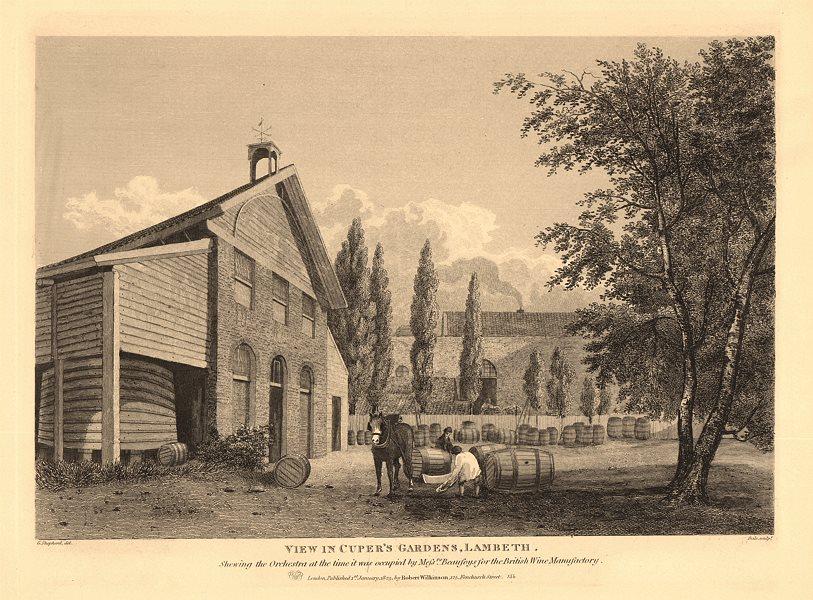 Associate Product SOUTHBANK. Beaufoys' British Wine Manufactory, Cuper's Gardens. Lambeth 1834
