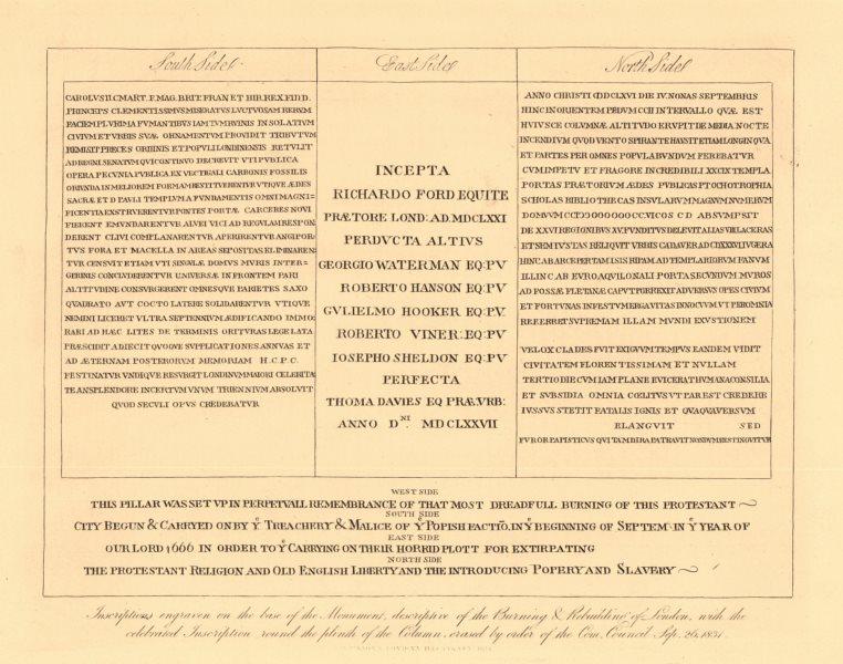 Associate Product MONUMENT Popish inscriptions describing the Great Fire,erased 1831. London 1834
