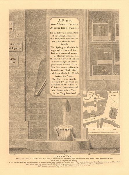 Associate Product CLERKENWELL Clerks well.Ray/Silver Street Farringdon Lane Close Green 1834 map