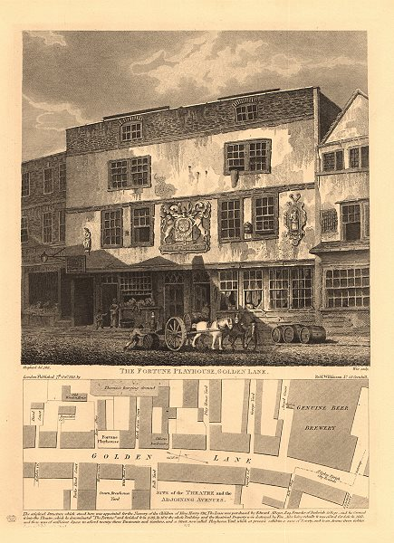 Associate Product FORTUNE PLAYHOUSE and plan of GOLDEN LANE. Fortune St. City of London 1834 map