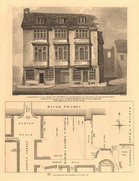 Associate Product BANKSIDE PLAN.Falcon Tavern in 1805.Upper Ground Albion/Holland Street 1834 map