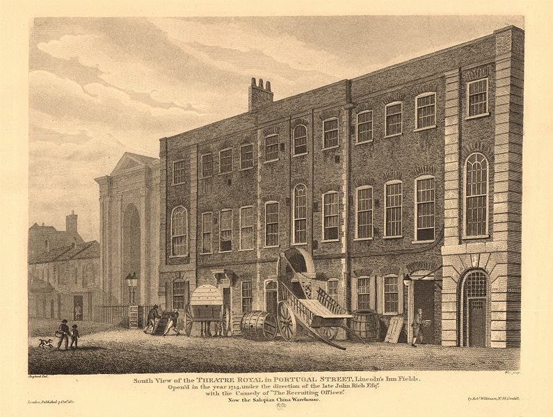 Associate Product LINCOLN'S INN FIELDS. South view of the Theatre Royal in Portugal Street 1834