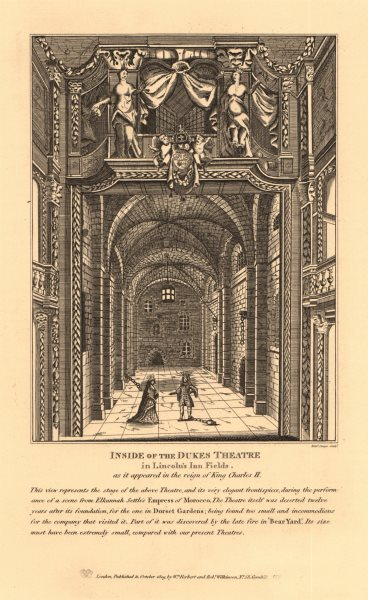 Associate Product DUKE'S THEATRE, LINCOLNS INN FIELDS, during the reign of King Charles III 1834