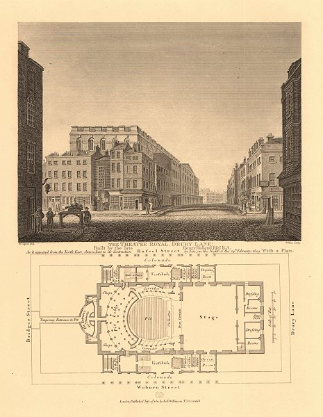 Associate Product THEATRE ROYAL DRURY LANE. From NE < 1809 fire & plan. Russell Street 1834 map