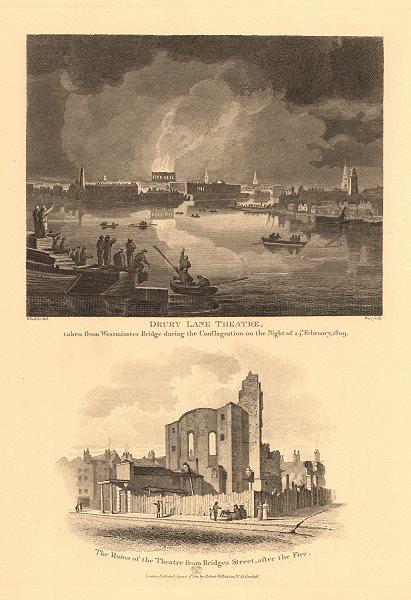 Associate Product THEATRE ROYAL DRURY LANE burning down 1809, from Westminster Bridge. Ruins 1834