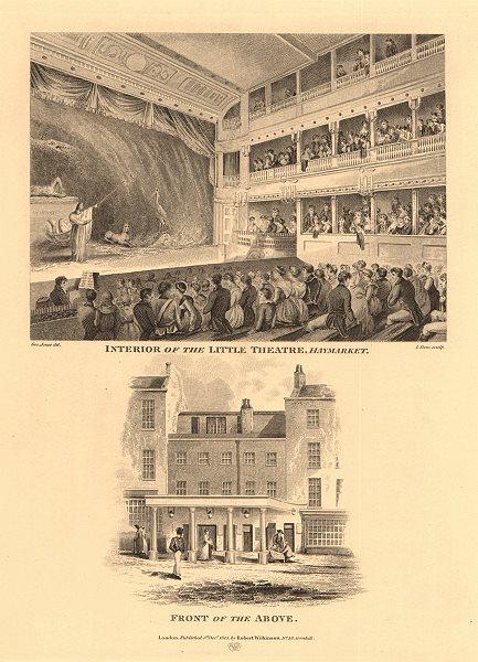 Associate Product LITTLE THEATRE, HAYMARKET. Interior & exterior/front views. London West End 1834