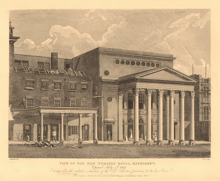 Associate Product THEATRE ROYAL, HAYMARKET. View of the new theatre. London West End 1834 print