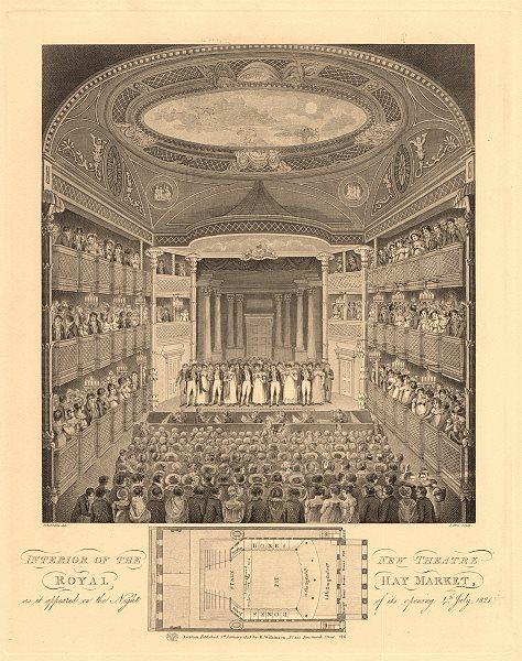 Associate Product THEATRE ROYAL HAYMARKET interior & seating plan. Opening night 1821 1834 map