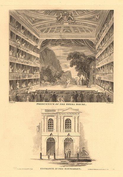 Associate Product HAYMARKET OPERA HOUSE (now HER MAJESTY'S THEATRE). Proscenium/entrance 1834