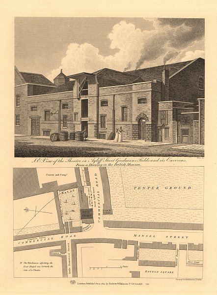 GOODMANS FIELDS THEATRE, Ayliffe St (Alie Street). Mansell Street plan 1834 map