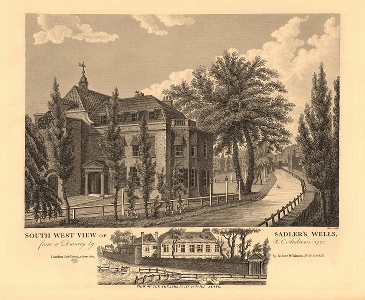 Associate Product SADLER'S WELLS THEATRE, Clerkenwell. South west view. Earlier view 1834 print