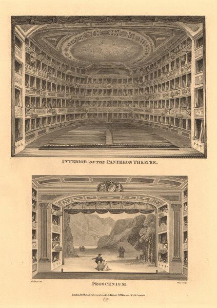 Associate Product PANTHEON THEATRE, 173 OXFORD STREET.Interior/Proscenium.Now Marks & Spencer 1834